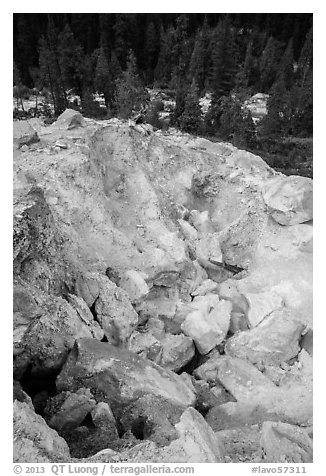 Colorful rocks in steam vent, Devils Kitchen. Lassen Volcanic National Park (black and white)
