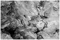 Close-up of rocks with red and yellow deposits, Devils Kitchen. Lassen Volcanic National Park ( black and white)