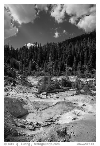 Devils Kitchen hydrothermal area. Lassen Volcanic National Park (black and white)