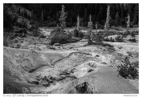 Devils Kitchen geothermal area. Lassen Volcanic National Park (black and white)