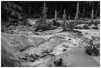 Devils Kitchen geothermal area. Lassen Volcanic National Park ( black and white)