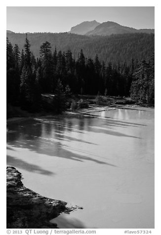 Shadows in Boiling Springs Lake and Lassen Peak. Lassen Volcanic National Park (black and white)