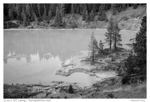 Boiling Springs Lake, Warner Valley. Lassen Volcanic National Park (black and white)
