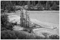 Boiling Springs Lake. Lassen Volcanic National Park ( black and white)