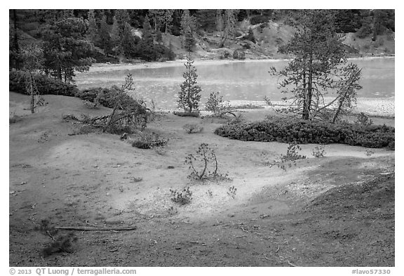 Red earth and greenish waters of Boiling Springs Lake. Lassen Volcanic National Park (black and white)
