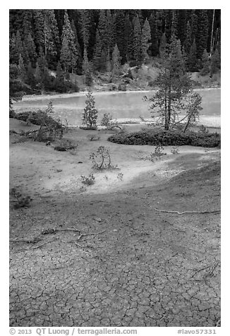 Red cracked mud next to Boiling Springs Lake. Lassen Volcanic National Park (black and white)