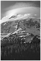 Mt Rainier with lenticular cloud. Mount Rainier National Park, Washington, USA. (black and white)
