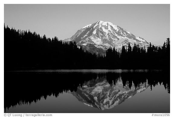 Mt Rainier with perfect reflection in Eunice Lake at sunset. Mount Rainier National Park (black and white)