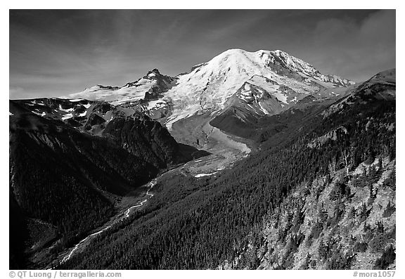 Emmons Glacier and Mt Rainier from Sunrise, morning. Mount Rainier National Park (black and white)