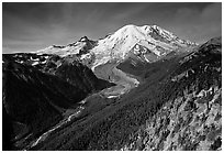 Emmons Glacier and Mt Rainier from Sunrise, morning. Mount Rainier National Park, Washington, USA. (black and white)