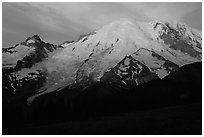 North Face of Mt Rainier, sunrise. Mount Rainier National Park ( black and white)