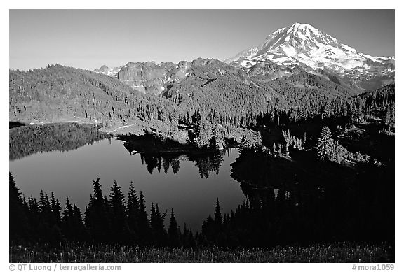 Eunice Lake and Mt Rainier, afternoon. Mount Rainier National Park (black and white)