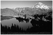 Eunice Lake and Mt Rainier, afternoon. Mount Rainier National Park ( black and white)