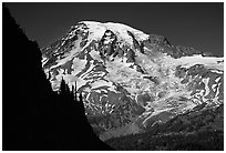 Mt Rainier seen from  Tatoosh range, afternoon. Mount Rainier National Park, Washington, USA. (black and white)
