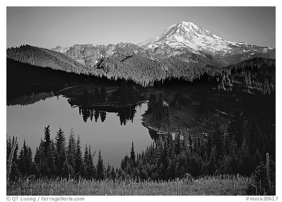 Eunice Lake seen from above with Mt Rainier behind, afternoon. Mount Rainier National Park (black and white)