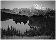 Eunice Lake seen from above with Mt Rainier behind, afternoon. Mount Rainier National Park ( black and white)