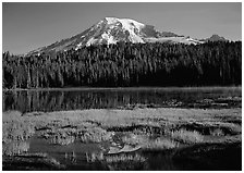 Reflection Lake and Mt Rainier, early morning. Mount Rainier National Park ( black and white)