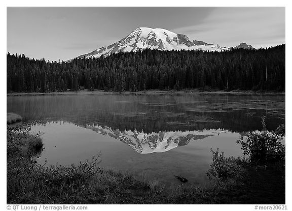 Mount Rainier reflected in lake at dawn. Mount Rainier National Park (black and white)