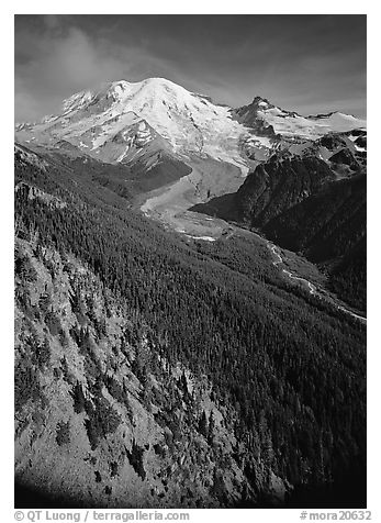 Valley fed by Mount Rainier glaciers, morning, Sunrise. Mount Rainier National Park (black and white)
