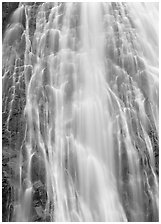 Narada falls detail. Mount Rainier National Park, Washington, USA. (black and white)