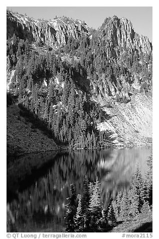 Cliffs reflected in Eunice Lake. Mount Rainier National Park (black and white)