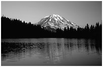 Mt Rainier above Eunice Lake, sunset. Mount Rainier National Park, Washington, USA. (black and white)