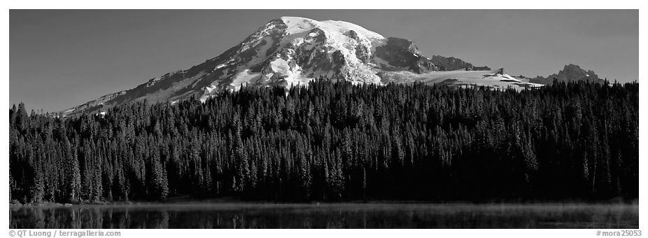 Mount Rainier raising above forest and lake. Mount Rainier National Park (black and white)