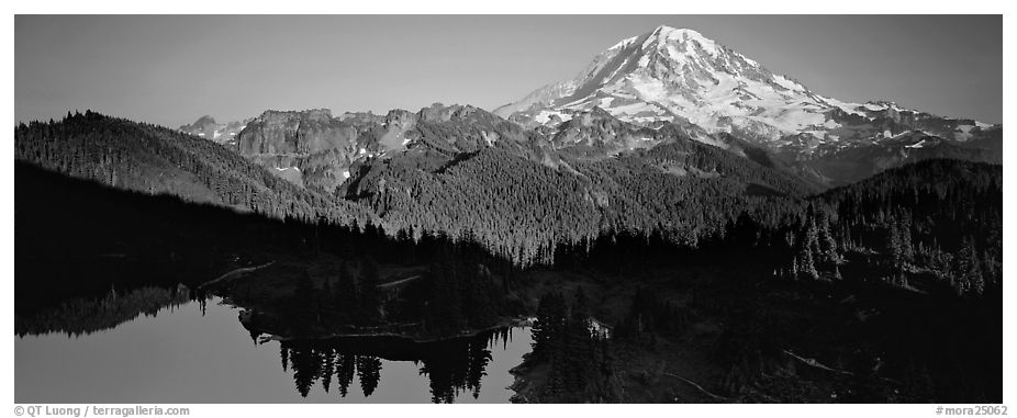 Lake and distant Mount Rainier. Mount Rainier National Park (black and white)