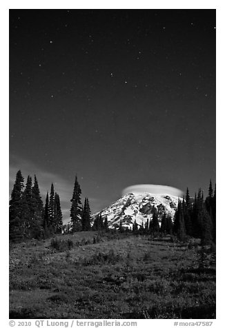 Mount Rainier and stars by night. Mount Rainier National Park (black and white)