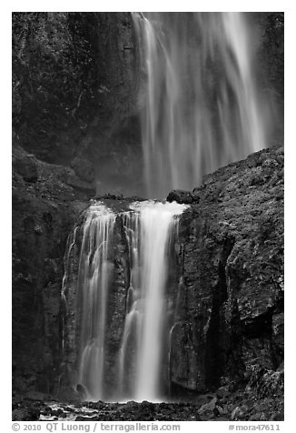 Upper and medium tiers of Comet Falls. Mount Rainier National Park (black and white)
