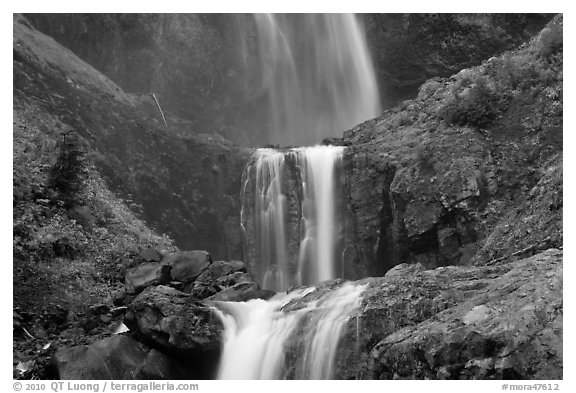 Three tiers of Comet Falls. Mount Rainier National Park (black and white)