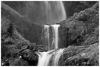 Three tiers of Comet Falls. Mount Rainier National Park ( black and white)