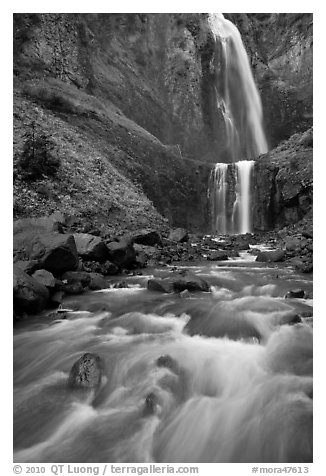 Flowing creek and Comet Falls. Mount Rainier National Park (black and white)
