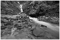 Creek and waterfall. Mount Rainier National Park, Washington, USA. (black and white)