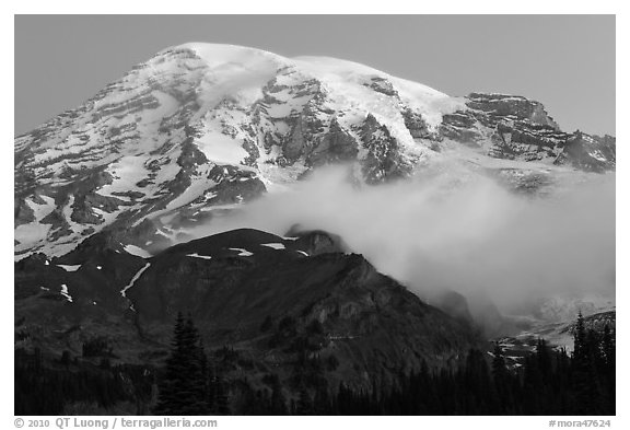 Mount Rainier and fog at dawn. Mount Rainier National Park (black and white)