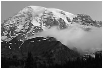 Mount Rainier and fog at dawn. Mount Rainier National Park, Washington, USA. (black and white)