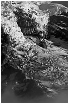 Glaciers, crevasses, and seracs. Mount Rainier National Park ( black and white)