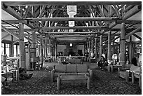 Interior of Paradise Inn. Mount Rainier National Park, Washington, USA. (black and white)