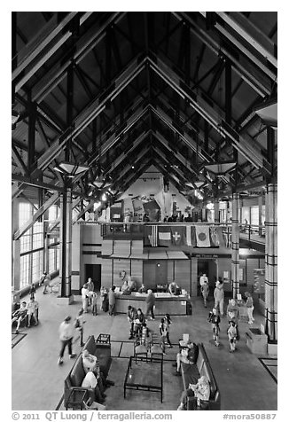 Inside Henry M Jackson Memorial Visitor Center. Mount Rainier National Park (black and white)
