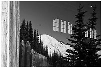 Mt Rainier, Sunrise Visitor Center window reflexion. Mount Rainier National Park, Washington, USA. (black and white)