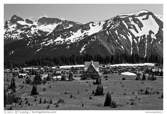 Meadows, buildings and parking lot, mountains, Sunrise. Mount Rainier National Park (black and white)
