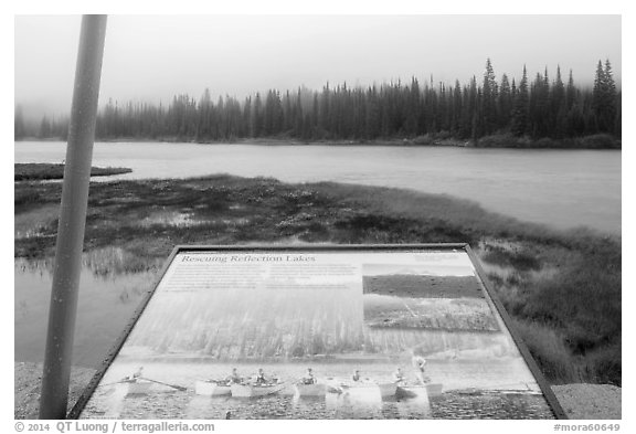 Reflection Lakes interpretive sign. Mount Rainier National Park (black and white)
