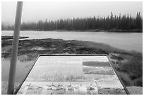 Reflection Lakes interpretive sign. Mount Rainier National Park ( black and white)