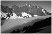 Sun projected on fog below peaks, early morning, Cascade Pass area, North Cascades National Park. Washington, USA. (black and white)