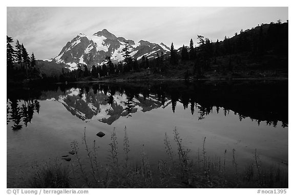 Mount Shuksan and Picture lake, sunset,  North Cascades National Park.  (black and white)