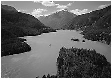 Turquoise waters in Diablo lake, North Cascades National Park Service Complex. Washington, USA. (black and white)
