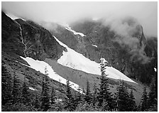 Cascades and snowfields, below Cascade Pass, North Cascades National Park. Washington, USA. (black and white)