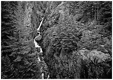 Gorge Creek falls in summer, North Cascades National Park Service Complex.  ( black and white)