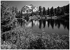 Mount Shuksan and Picture lake, mid-day,  North Cascades National Park.  ( black and white)