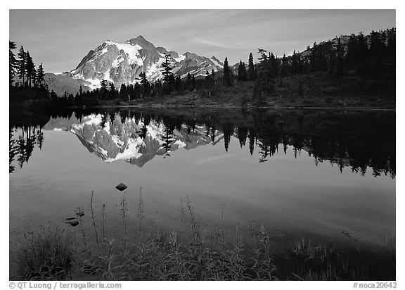 Mount Shuksan and Picture lake, sunset. North Cascades National Park (black and white)